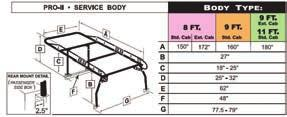 "The height of the rack over the cab can be optimally set for all makes and models of truck or service body. Mount brackets set the legs off 5/8"" from the rear panel to accommodate top opening boxes."