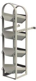 14 gauge steel frame with sloped cradles and nylon retention straps.