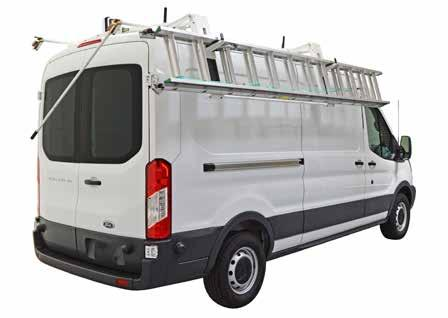 ez drop down ladder racks LEFT IMAGE: LADDER RACK ON A MID-ROOF VAN IS IN THE DOWN POSITION. NOTE IT IS EASY TO REACH THE DETACHABLE HANDLE WHICH CAN BE STORED INSIDE THE VAN.