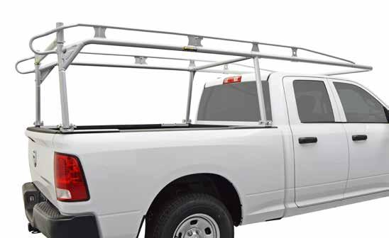 medium-duty pro IV pick up truck cargo rack HIGH-STRENGTH RAILS FORM SAFETY GRAB HANDLES HIGH-STRENGTH SIDE CHANNEL REINFORCEMENT OPTIONAL: TH CROSS BAR PART #90 SMOOTH ROUND TUBING COMPONENTS REDUCE