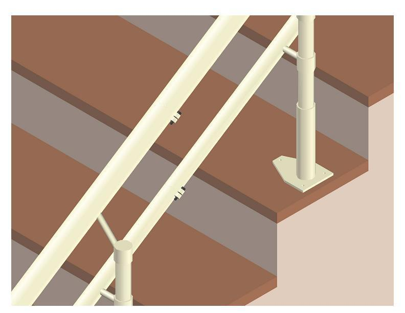 - secure the two rigidly together with the fastening screws M6X25 which are installed in the installation eyelets arranged at the rear of each pipe of the rail, making sure that the two ends of both
