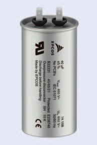 AC Capacitors B3331V Series Construction Dielectric: polypropylene (PP) Aluminum can and top Soft polyurethane resin Self-healing properties Low dissipation factor Overpressure disconnector for all
