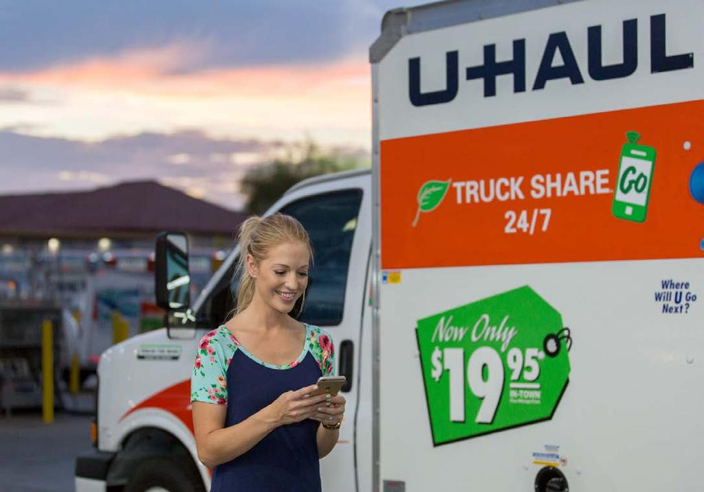 What is U-Haul Truck Share 24/7? Secure. A streamlined process for sharing vans and trucks completed entirely on a customer s mobile device. Convenient.