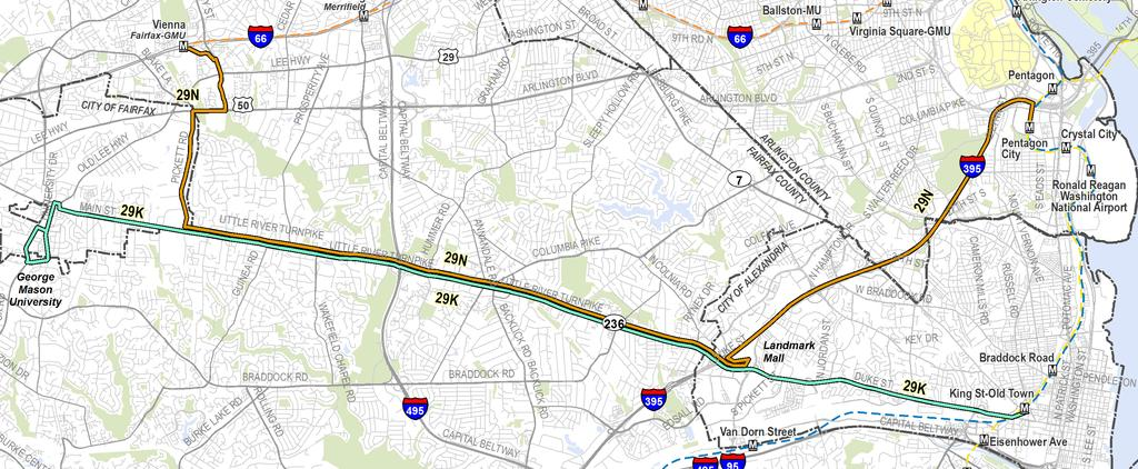 Option 17: Restructure Local Service - The Alexandria-Fairfax Line (29K-N), which provides all-day service along Little River Turnpike, would continue to have two variations; however, only one