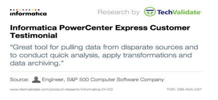 83% Use 1-5 Data Sources Over time businesses will look to leverage a product like PowerCenter Express in more and innovative ways, and the smaller