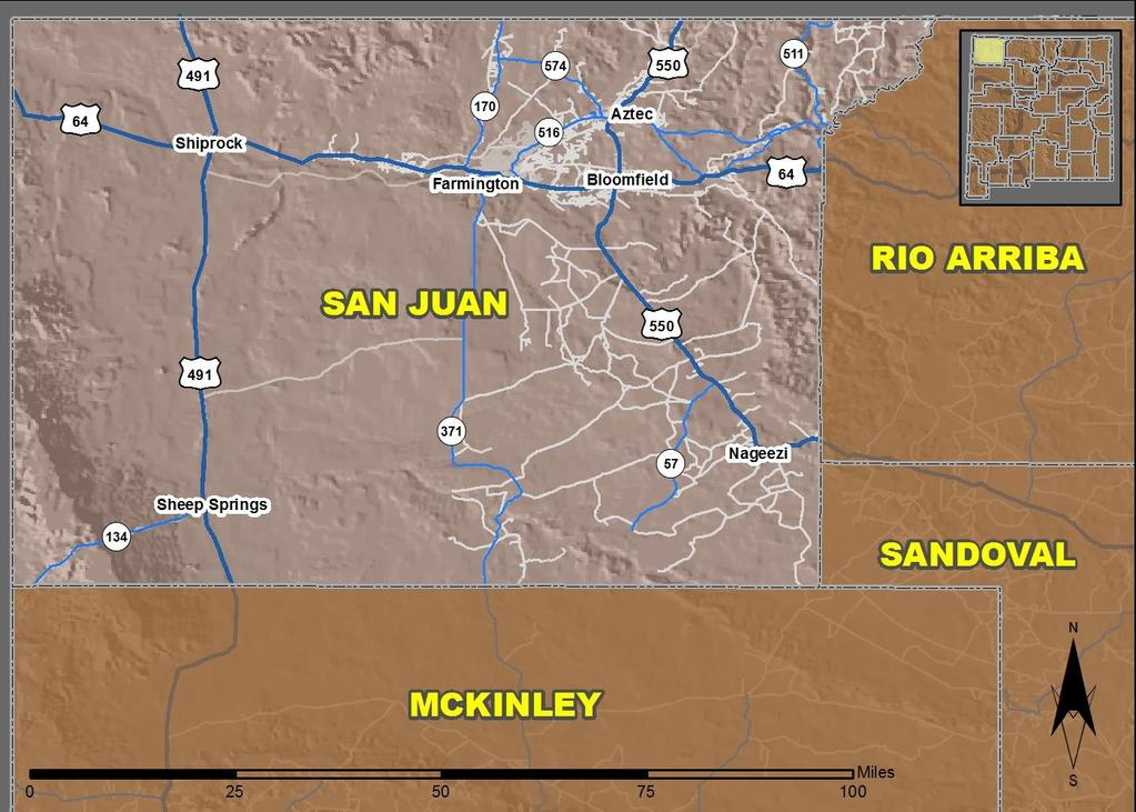 25 San Juan County Produced for the New Mexico Department of Transportation, Traffic Safety Division, Traffic Records Bureau, Under Contract 58 by the University of New Mexico, Geospatial and