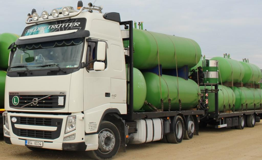 Our company has 4 special trucks for delivery of storage tanks,