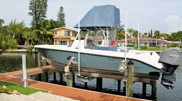 The GatorVator TM fits in narrow areas along the dock and is user