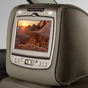 UJ5 - REAR HEADREST DVD SYSTEM - DUNE CLOTH WITH SHALE STITCH System, Dune Cloth with Shale Stitching UJ5 - REAR HEADREST DVD SYSTEM - DUNE VINYL WITH SHALE STITCH System, Dune Vinyl with Shale