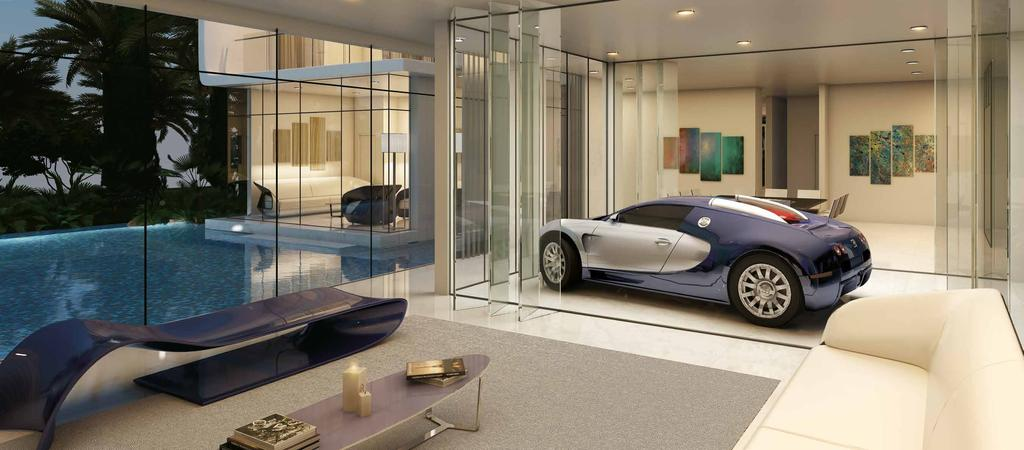 VROOM WITH A VIEW THE STUNNING CENTREPIECE TO YOUR LIVING ROOM Your home features its own unique glass-walled parking space, so you