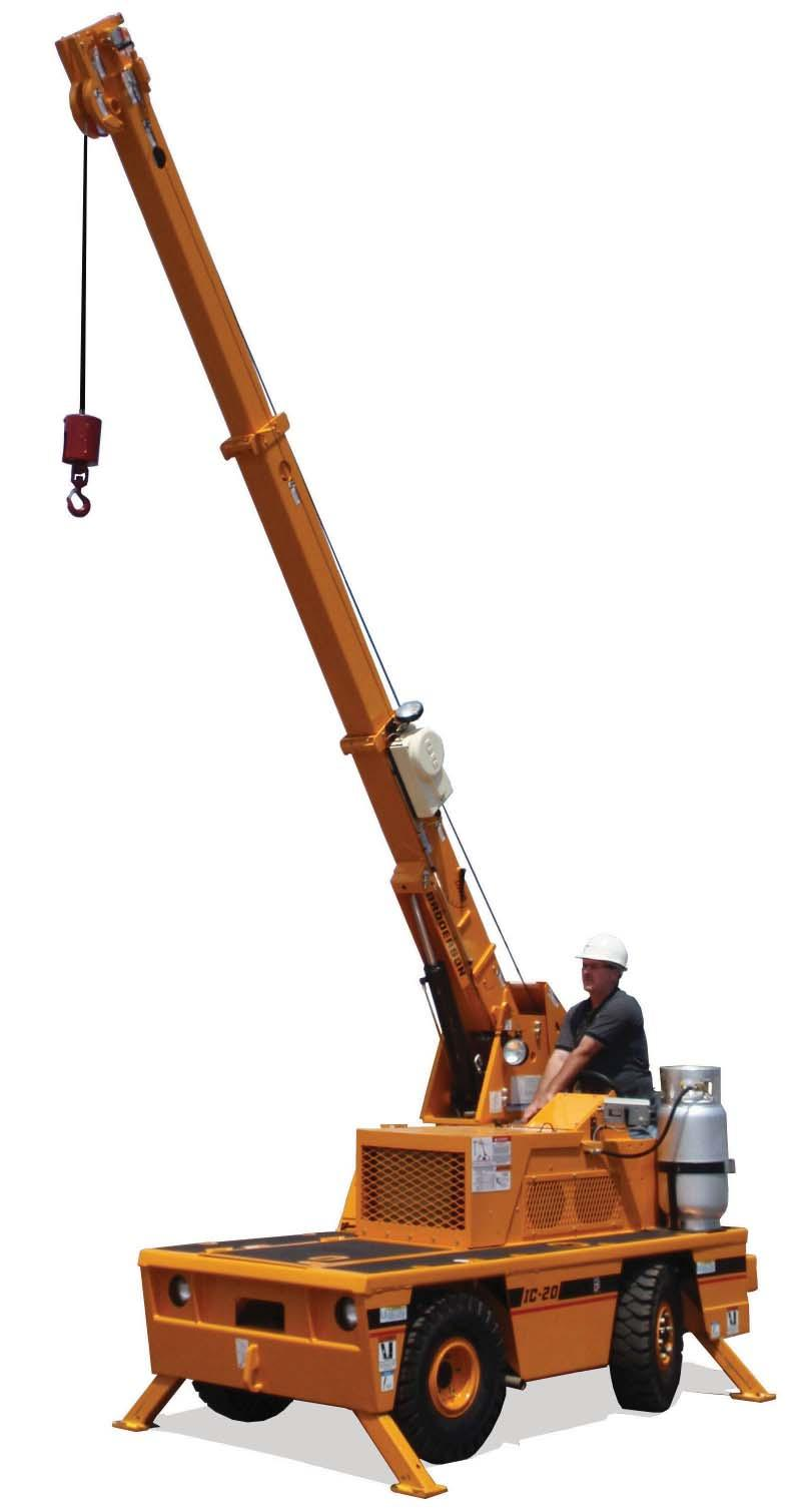Tech Spec IC-20-J Industrial Crane Features the exclusive rotating boom Capacity on Outriggers... 5,000 lbs (2,270 kg) Pick and Carry Capacity... up to 2,500 lbs (1,130 kg) Height... 5 6 (1.
