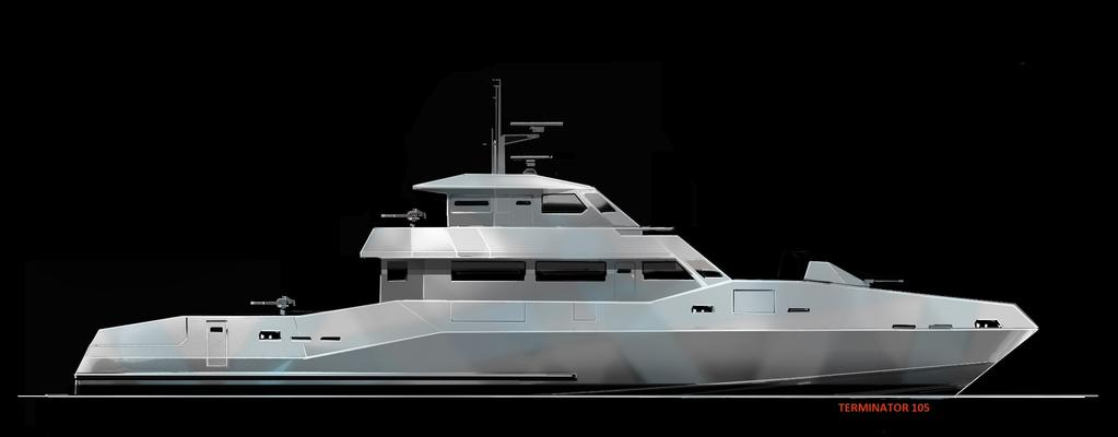 Catamaran LOA : 42 (14m) BEAM: 14 DRAFT: 1 6 TWIN 250 HP $ 670,000 Terminator 86 LOA : 86 (27m) BEAM: