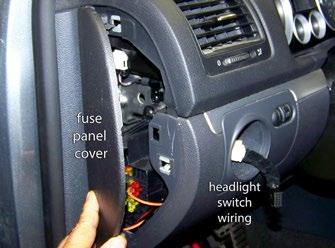 Section 3 - Make Electrical Connections Step 1 - Remove and unplug the headlight switch With the headlight switch in the off position, push