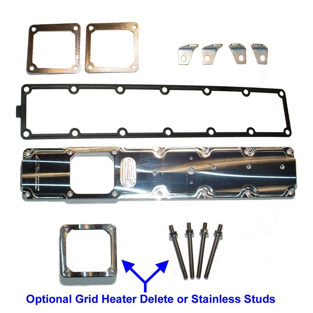 Air-Boss CR Intake Plenum Kit Contents Qty Item Description 1 Air-Boss CR Billet Intake Plenum 1 Intake Plenum Gasket 2 Intake Manifold Gasket 2 Right Hand Line Retainer Brackets 2 Left Hand Line