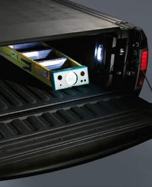 LIGHT THE BED TWO POINTS OF ILLUMINATION Augmenting the CHMSL cargo bed light, these side bed-mounted LED lights are perfect for night loading now with a