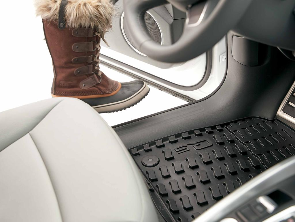 All-weather floor mats No matter where the day takes you, the all-weather floor mats feature a nubbed design that helps protect your