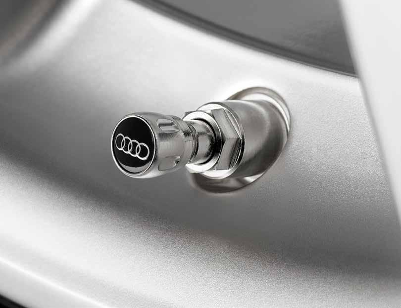 Valve stem caps Emblazoned with the iconic Audi rings, these handsome caps complement the unique