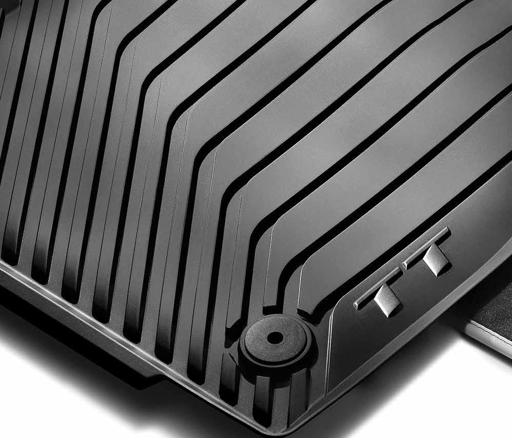 All-weather floor mats The all-weather floor mats feature a deep-ribbed, channeled design that helps protect your
