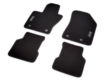The mats, a must during inclement weather, are sold as a set of three and feature the Jeep Brand logo.