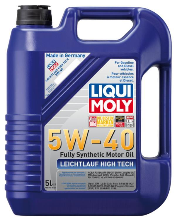 LEICHTLAUF HIGH TECH 5W-40 DESCRIPTION: Modern top class low-friction engine oil for all-season use in gasoline and diesel engines without diesel particulate filters (DPF).
