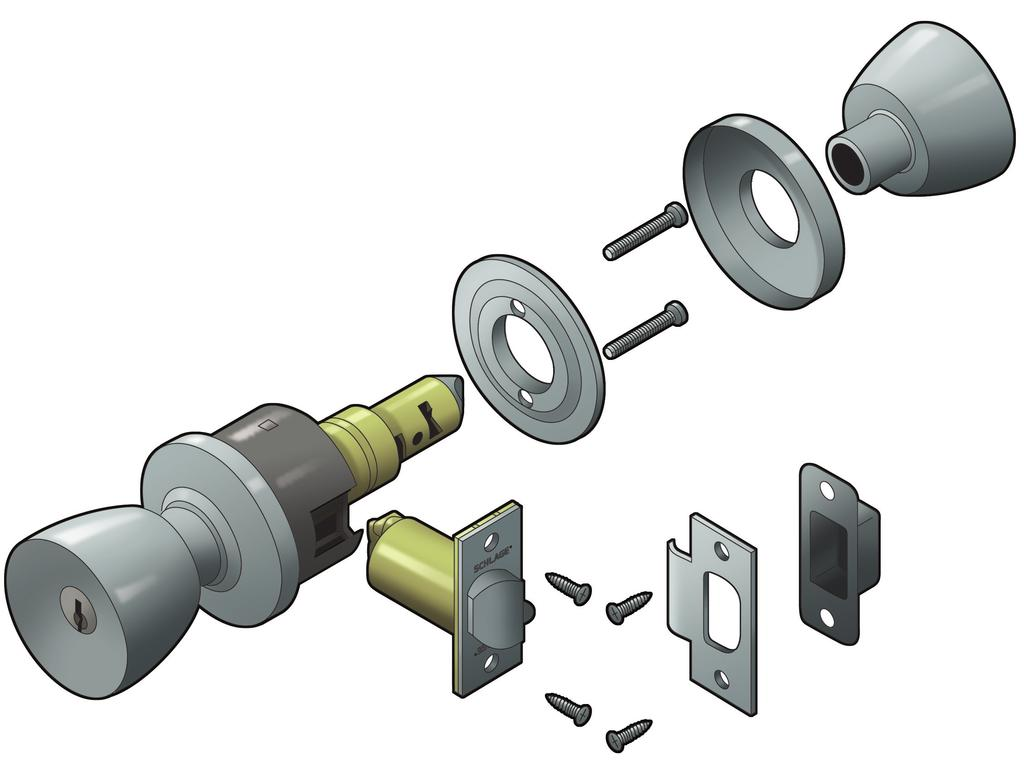 The lock that s built to last Cold-rolled steel, and machined and threaded hubs prevent loosening of the lockset by bolting the chassis to the door Heavy-duty cast mounting plate with specially