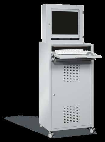 Mobile IT Cabinet IT Enclosures Compact and Secure IT Terminal Steel housing, powder-coated in light grey RAL 7035 Graphite worktop for documents Ventilated sheet steel door with safety cylinder