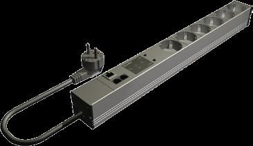 VI. System Accessories Electronic Components Monitored PDU intelligent power distribution in the rack Strong and compact aluminium casing 1-phase and 3-phase versions Capacity range from 3.