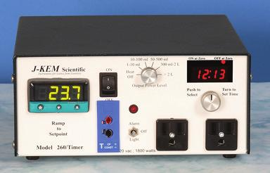 12318 Model 260/Timer, J-Kem The Model 260/Timer disconnects output power if the process temp exceeds the setpoint by a user specified amount or following a recovery from a power failure.