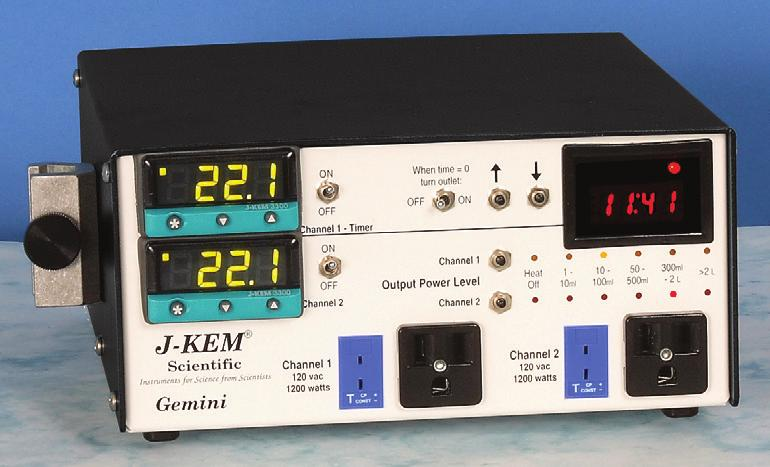 Multi-Channel Controllers 12310 Gemini Series, J-Kem The Gemini Series features two temperature controllers in a single cabinet to regulate two independent reactions.
