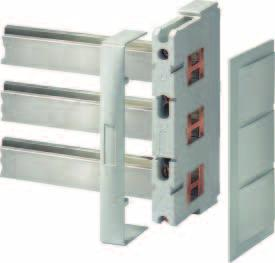 8US Busbar Systems 60 mm Busbar Systems Base assemblies up to 1600 A Overview 1 2 3 1 Flat copper profile 2 Busbar support 3 End cover Selection and ordering data Description DT Order No.