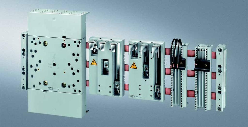 8US Busbar Systems 60 mm Busbar Systems Siemens AG 2007 Busbar adapters and device holders Overview Selection and ordering data For flat copper profiles according to DIN 46433, width: 12 mm to 30 mm,