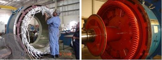 Complete stator and rotor rewind (utilizing existing copper
