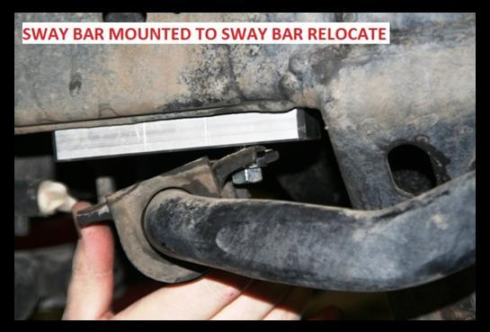 Install the sway bar relocates, followed by the sway bar. 23. Reinstall the wheels/tires and the skid plate.