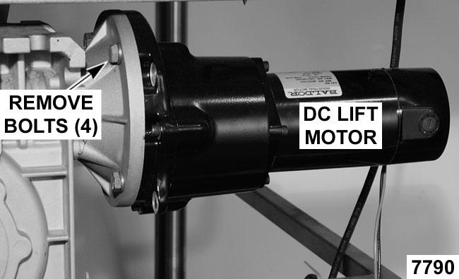 Lower the pan (use motorized pan lift or manual crank handle). 3. If DC lift motor is installed, remove motor as outlined under DC LIFT MOTOR. 4.