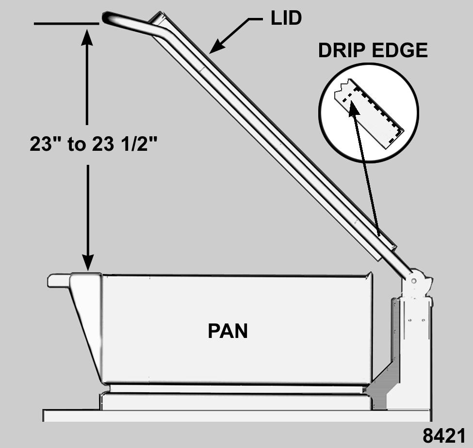 "LID SWITCH ADJUSTMENT CAUTION: Lid switch should not allow pan to be raised if the lid is not opened a minimum of 23"" or damage to the lid may occur. 1. Turn the on/off switch on. 2. Raise the lid to the full open position."