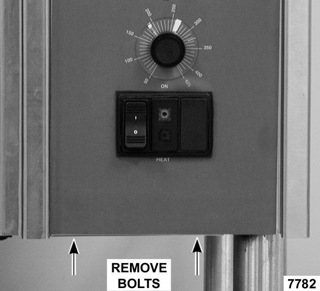 ELECTRIC BRAISING PANS - REMOVAL AND REPLACEMENT OF PARTS 5. Tilt bottom of control panel outwards and pull down. NOTE: The control panel should be supported to remove lead wire strain. 6.