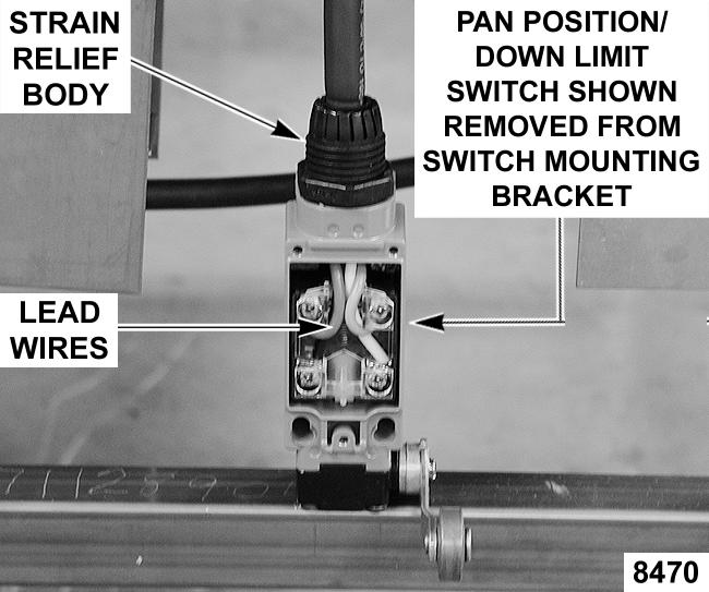 2. Remove strain relief nut from end of strain relief body and remove pan position/down limit switch from switch mounting bracket.