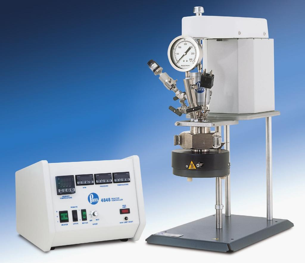 Series 4590 Micro Reactor Systems Series Number: 4590 Type: Micro Stand: Bench Top Vessel Mounting: Moveable or Fixed Head Sizes, ml: 25, 50, 100 Standard Pressure MAWP Rating, psi (bar): 3000 (200)