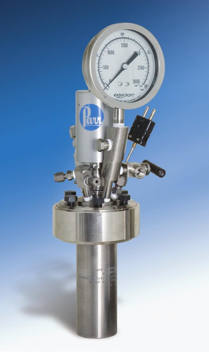 Series 5500 High Pressure Compact Laboratory Reactors The 25, 50, and 100 ml reactors are equipped with gas inlet and outlet valves, a liquid sampling valve, pressure gage, safety rupture disc, and