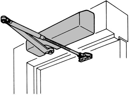 TOP JAMB APPLICATION TOP JAMB APPLICATION D-4550 / D-4551 Series Door Closer Specifications Closer mounted on PUSH side of door Can be templated for either 120 or 180 (when butt, frame and wall