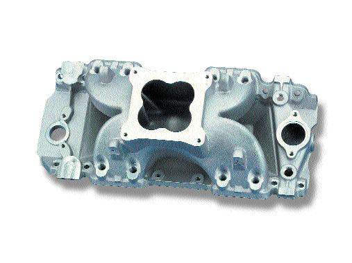 AIR SYSTEMS CHEVROLET MANIFOLDS Part # Machined for standard deck blocks High rise/dual plane design Idle-6500 RPM power band 396, 402, 427, 454, 502 Oval Port V8 0-9022 (800 CFM); 0-80443 (850 CFM);