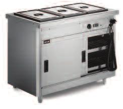bottom tank of bain marie section Adjustable leg option All 670 Series models are available as static or mobile versions Sturdy stainless steel top ideal for plating and garnishing and for use as a
