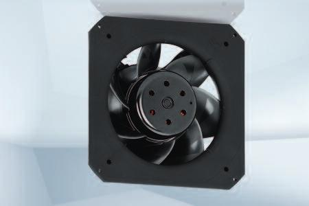 "Max. 1650 m 3 /h DC diagonal module 225 x 89 mm Material: Housing and support bracket: Plastic (PA) Impeller: Plastic (PA) Rotor: Painted black Number of blades: 7 Direction of air flow: ""V"""