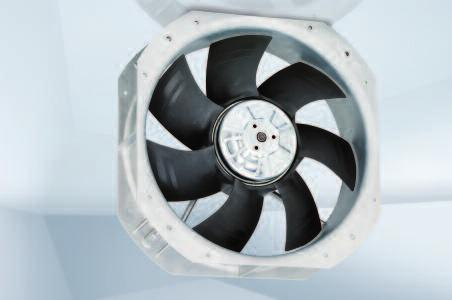 "Max. 2070 m 3 /h Ø 250 mm Material: Fan housing: Die-cast aluminum Blades: Plastic (PP) Rotor: Thick-film passivated Number of blades: 7 Direction of air flow: ""V"" Insulation class: ""B"" Installation"
