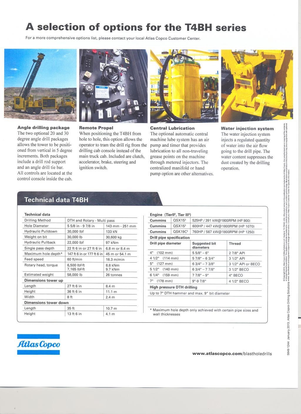 A selection of options for the T4BH series For a more comprehensive options list, please contact your local Atlas Copco Customer Center Angle drilling package The two optional 20 and 30 degree angle
