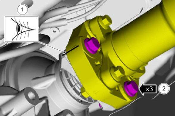 Torque: 35 lb.ft (48 Nm) - 1. Align the index-mark on driveshaft flex coupling to the transmission flange. - 2.