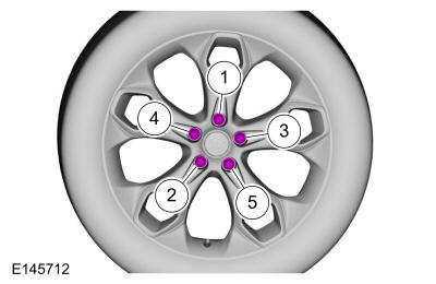 WARNING: Retighten wheel nuts within 160 km (100 mi) after a wheel is reinstalled. Wheels can loosen after initial tightening.
