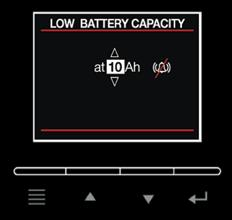 Use Up and Down buttons to change the value of battery capacity which is marked on the battery case. Press ENTER button to apply the changes. The default value is 100Ah.
