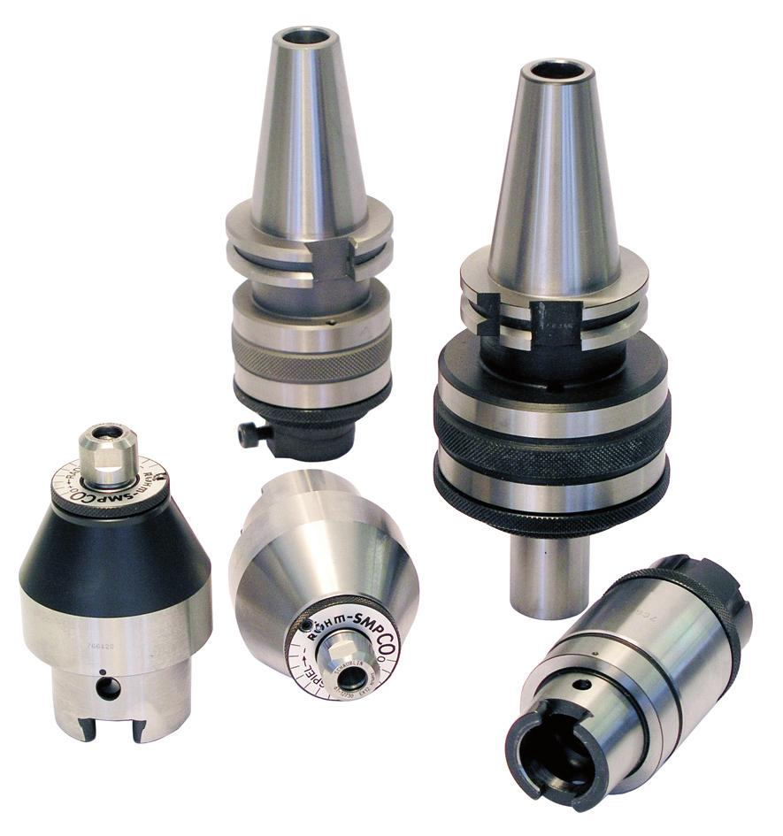 Efficient production of bores accurate in dimensions and design on single-spindle and multi-spindle machines. RÖHM designed special floating chucks for reamers with internal coolant supply.