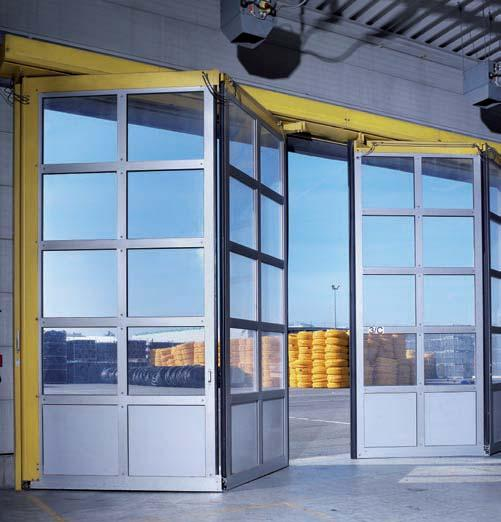 If you do not wish to use compressed air, we also supply electric motor-driven high-speed folding doors.